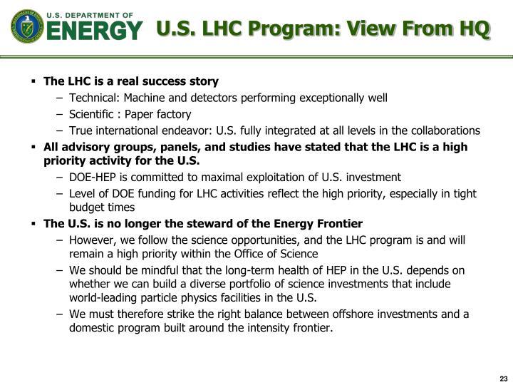 U.S. LHC Program: View From HQ