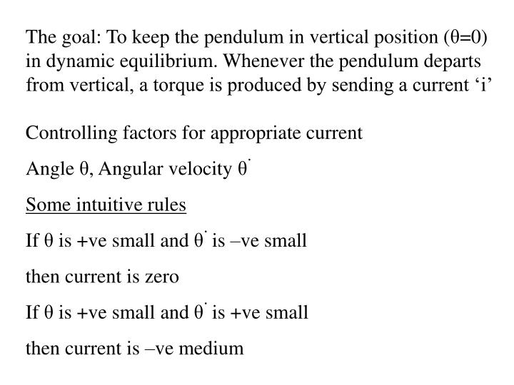 The goal: To keep the pendulum in vertical position (