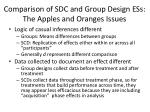 comparison of sdc and group design ess the apples and oranges issues
