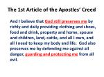 the 1st article of the apostles creed
