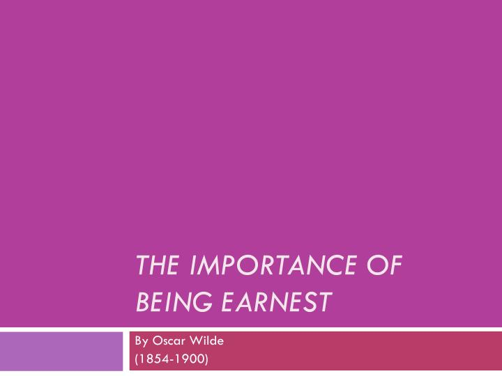 the importance of being earnest n.
