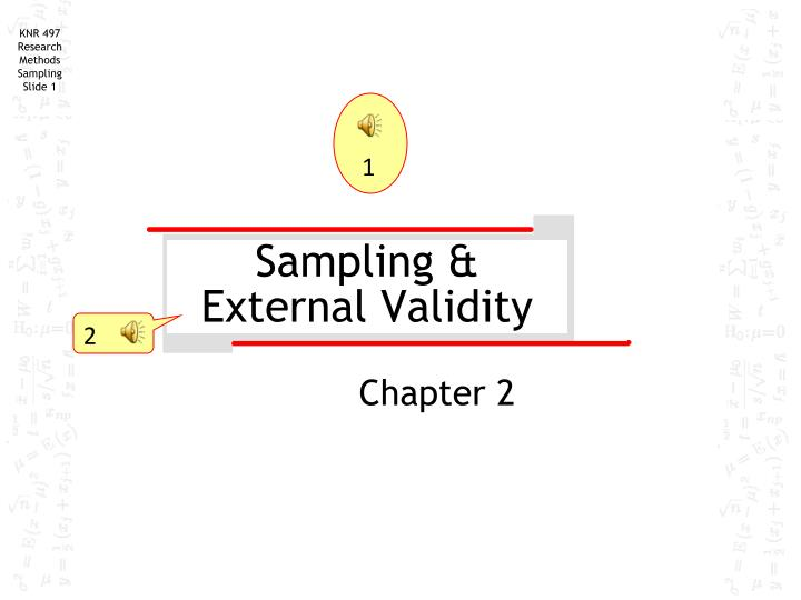 sampling external validity n.