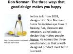 don norman the three ways that good design makes you happy