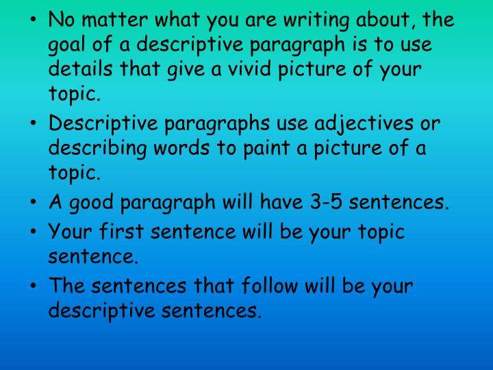 descriptive paragraph topic sentence examples