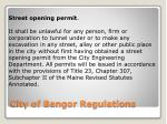 city of bangor regulations
