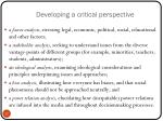 developing a critical perspective