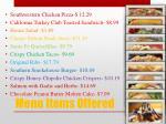 menu items offered