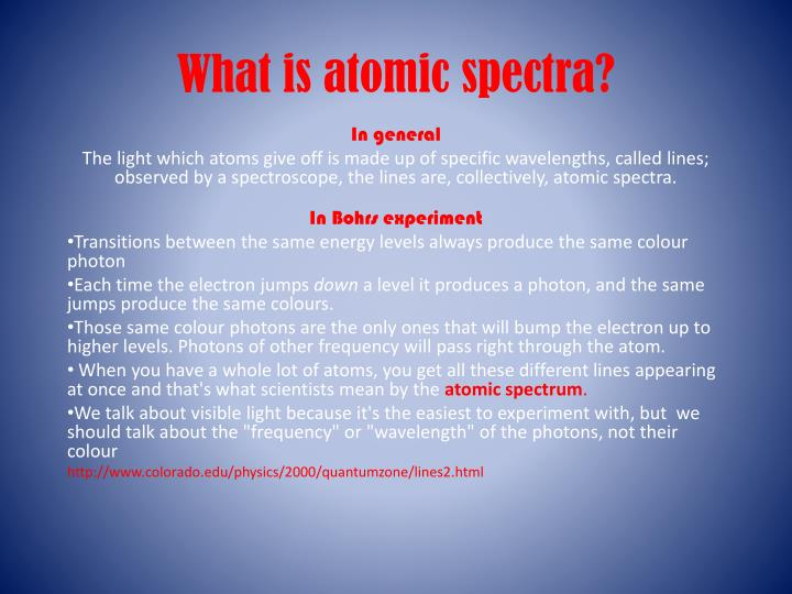 what is atomic spectra n.