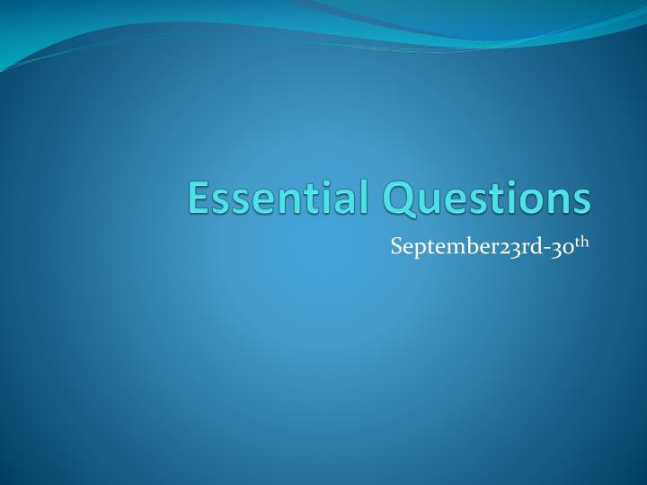 essential questions n.