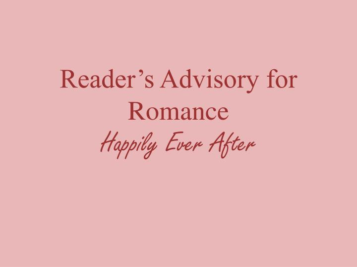 reader s advisory for romance happily ever after n.