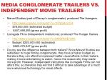 media conglomerate trailers vs independent movie trailers