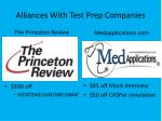 alliances with test prep companies