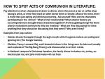 how to spot acts of communion in literature