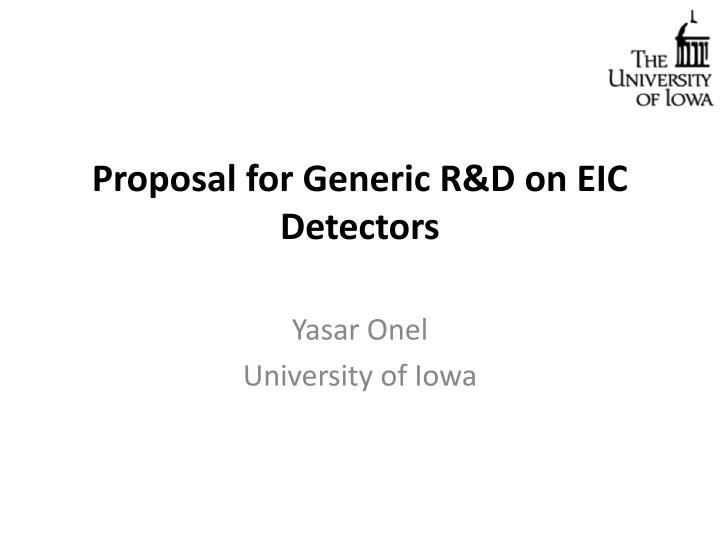 proposal for generic r d on eic detectors n.