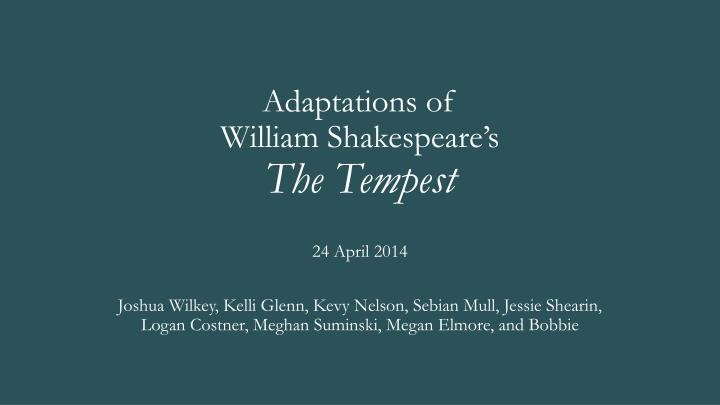 adaptations of william shakespeare s the tempest n.