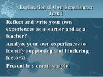 exploration of own experiences task 1