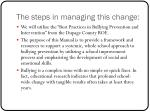 the steps in managing this change