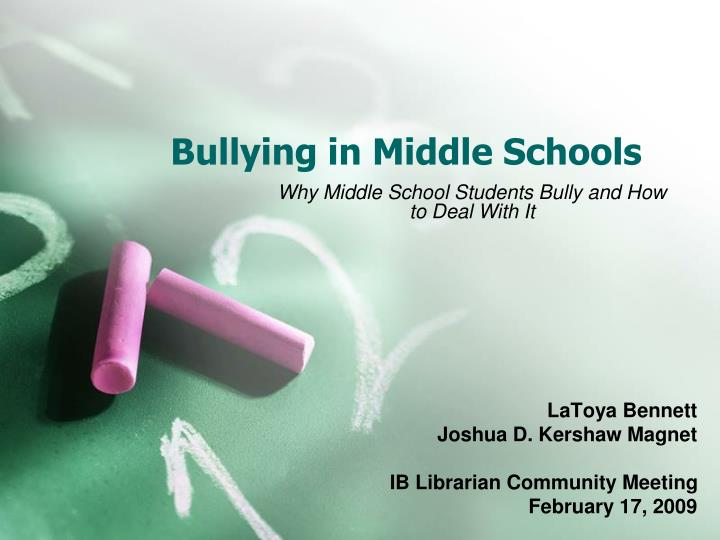 bullying in middle schools n.