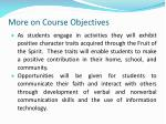 more on course objectives