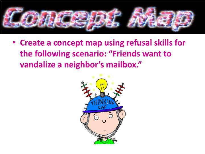 "Create a concept map using refusal skills for the following scenario: ""Friends want to vandalize a neighbor's mailbox."""