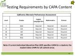 testing requirements by capa content