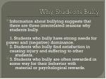 why students bully