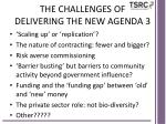 the challenges of delivering the new agenda 3