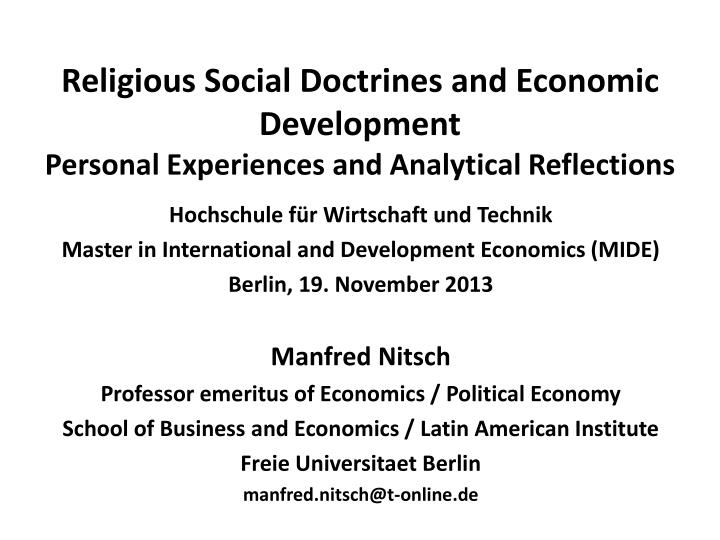 religious social doctrines and economic development personal experiences and analytical reflections n.