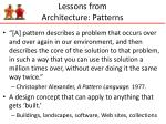 lessons from architecture patterns