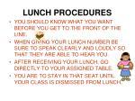 lunch procedures1