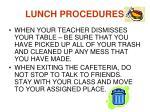lunch procedures2