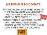 materials to donate