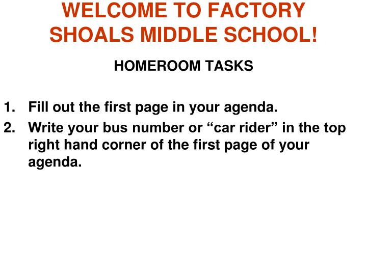 welcome to factory shoals middle school n.