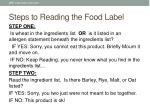 steps to r eading the food label