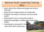 national youth leadership training 2011