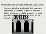 your actions and decisions now affect your future