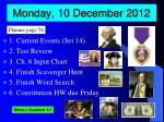 monday 10 december 2012