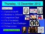 thursday 13 december 2012