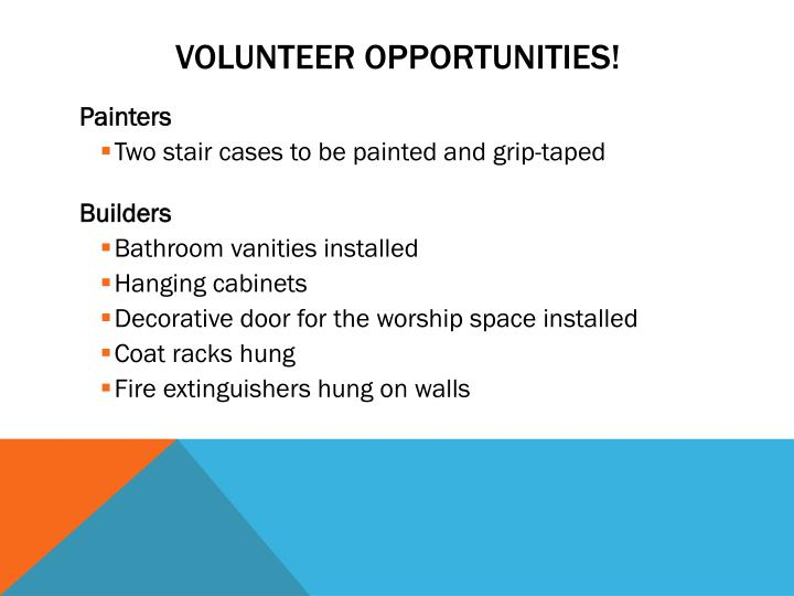 volunteer opportunities n.