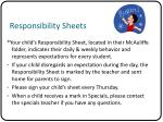 responsibility sheets