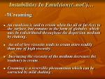 instabilities in emulsions con