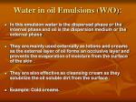 water in oil emulsions w o