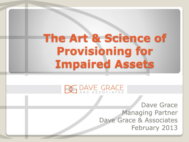 the art science of provisioning for impaired assets n.