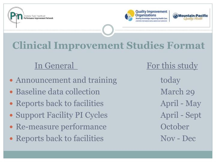 Clinical Improvement Studies Format