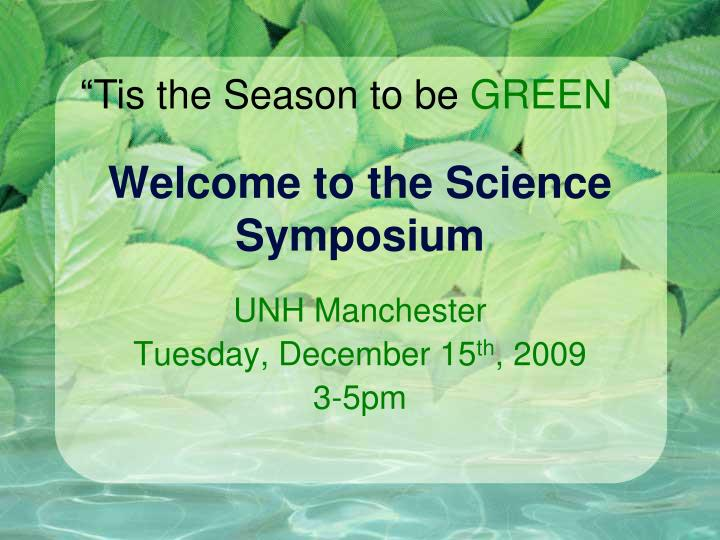 welcome to the science symposium n.