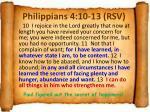 philippians 4 10 13 rsv