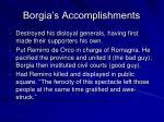 borgia s accomplishments