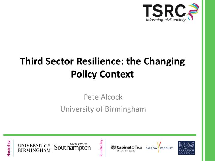 third sector resilience the changing policy context n.