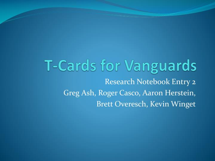 t cards for vanguards n.