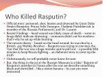 who killed rasputin